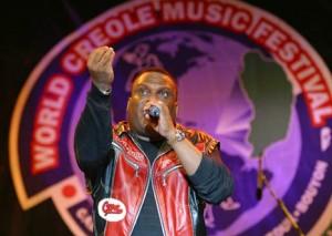 Tabou Combo's Shoubou, Roger Eugene on stage at 2003 WCMF